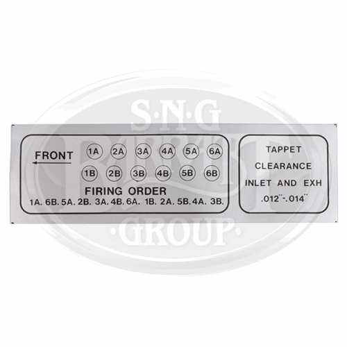 Tappet Clearance and Firing Order Plaque(C34433) | SNG